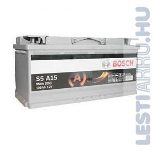 BOSCH Silver S5 AGM Autó Akkumulátor 12V 105Ah 950A Jobb+ (0092S5A150)