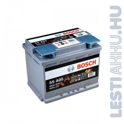 BOSCH Silver S5 AGM Autó Akkumulátor 12V 60Ah 680A Jobb+ (0092S5A050)