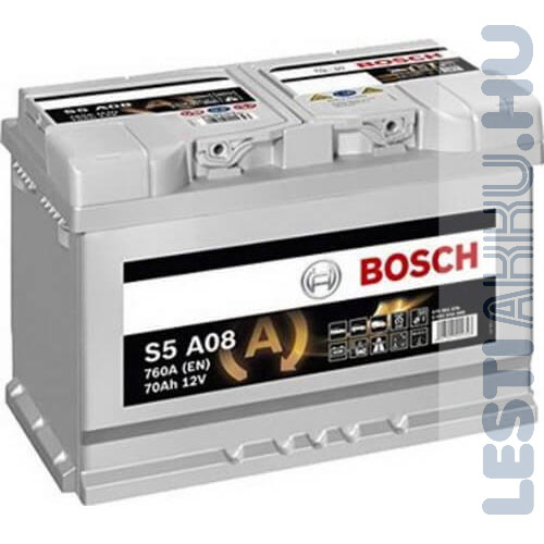 BOSCH Silver S5 AGM Autó Akkumulátor 12V 70Ah 760A Jobb+ (0092S5A080)
