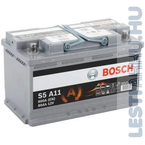 BOSCH Silver S5 AGM Autó Akkumulátor 12V 80Ah 800A Jobb+ (0092S5A110)