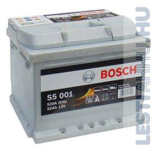 BOSCH Silver S5 Autó Akkumulátor 12V 52Ah 520A jobb+ (0092S50010)