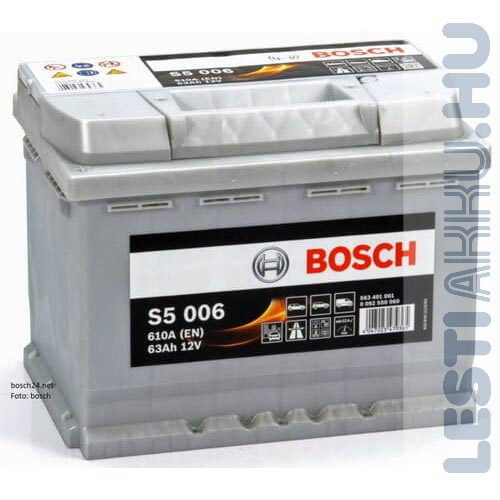 BOSCH Silver S5 Autó Akkumulátor 12V 63Ah 610A Bal+ (0092S50060)