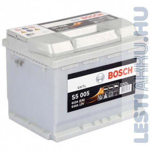 BOSCH Silver S5 Autó Akkumulátor 12V 63Ah 610A Jobb+ (0092S50050)