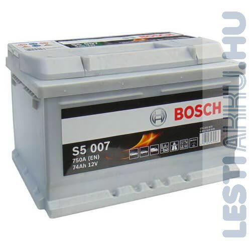 BOSCH Silver S5 Autó Akkumulátor 12V 74Ah 750A Jobb+ (0092S50070)