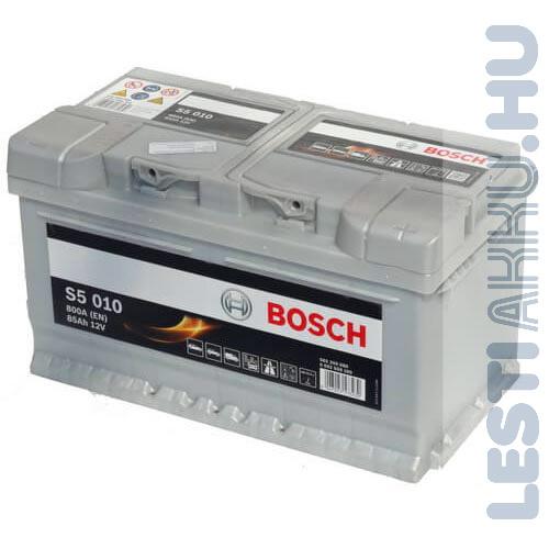 BOSCH Silver S5 Autó Akkumulátor 12V 85Ah 800A Alacsony Jobb+ (0092S50100)