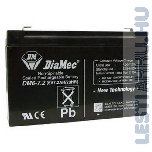 DiaMec Szünetmentes akkumulátor 6V 7.2Ah