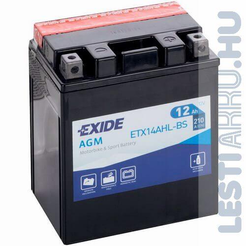 EXIDE Bike AGM Motor Akkumulátor AGM 12-14 (YTX14AHL-BS) 12V 12Ah 210A Jobb+