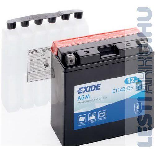 EXIDE Bike AGM Motor Akkumulátor YT14B-BS 12V 12Ah 135A Bal+