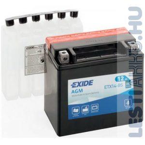 EXIDE Bike AGM Motor Akkumulátor YTX14-BS 12V 12Ah 200A Bal+