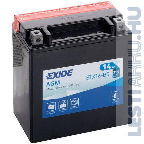 EXIDE Bike AGM Motor Akkumulátor YTX16-BS 12V 14Ah 215A Bal+