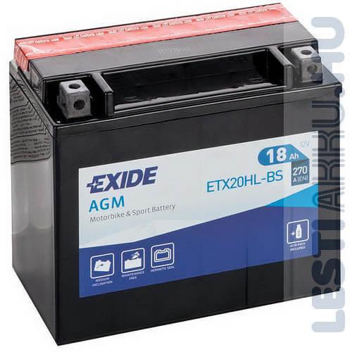 EXIDE Bike AGM Motor Akkumulátor YTX20L-BS (ETX20HL-BS) 12V 18Ah 270A Jobb+