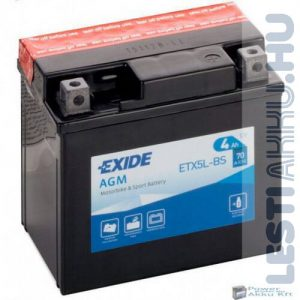 EXIDE Bike AGM Motor Akkumulátor YTX5L-BS 12V 4Ah 70A Jobb+