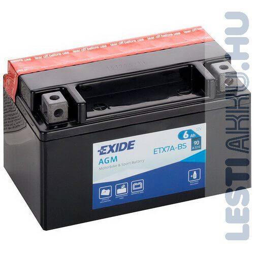 EXIDE Bike AGM Motor Akkumulátor YTX7A-BS 12V 6Ah 90A Bal+