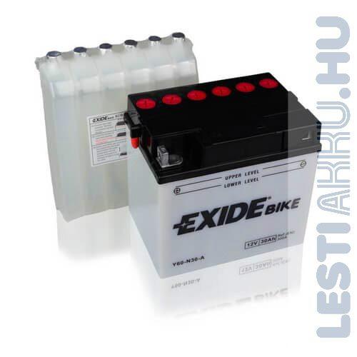 EXIDE Bike Fűnyíró Traktor Akkumulátor Y60-N30-A 12V 30Ah 300A Bal+