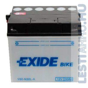 EXIDE Bike Fűnyíró Traktor Akkumulátor Y60-N30L-B 12V 30Ah 300A Jobb+