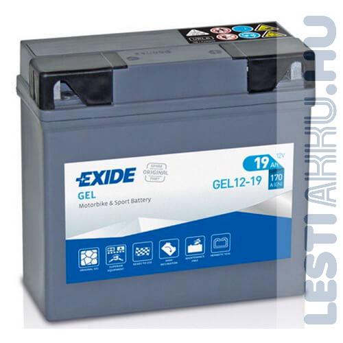 EXIDE Bike GÉL Motor akkumulátor (GEL 12-19) BMW 12V 19Ah 170A Jobb+