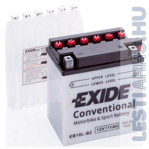 EXIDE Bike Motor Akkumulátor YB10L-B2 12V 11Ah 130A Jobb+