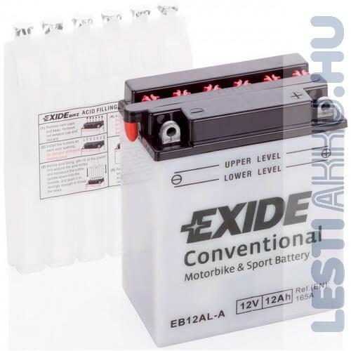 EXIDE Bike Motor Akkumulátor YB12AL-A 12V 12Ah 165A Jobb+