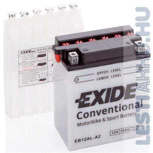 EXIDE Bike Motor Akkumulátor YB12AL-A2 12V 12Ah 165A Jobb+