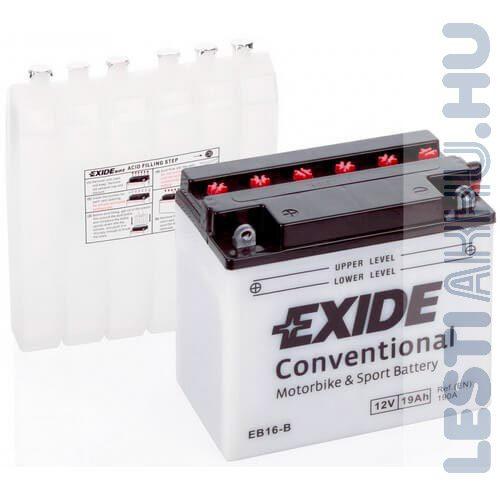EXIDE Bike Motor Akkumulátor YB16-B 12V 19Ah 190A Bal+