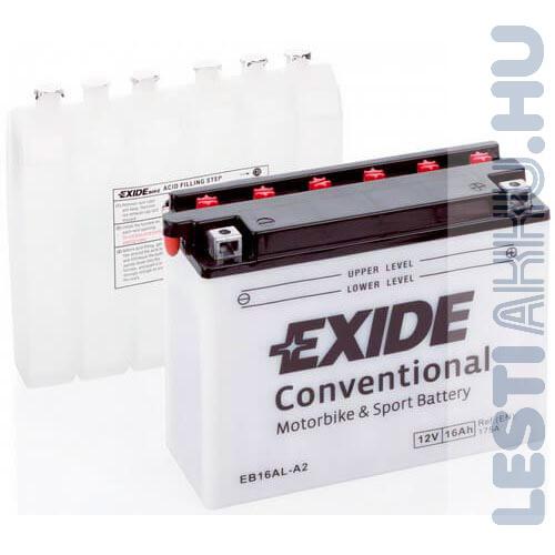 EXIDE Bike Motor Akkumulátor YB16AL-A2 12V 16Ah 175A Jobb+