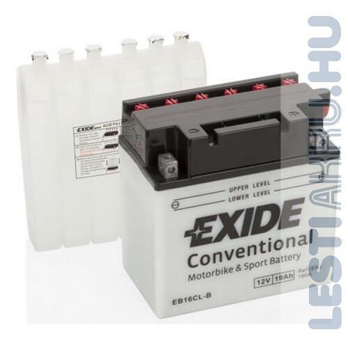 EXIDE Bike Motor Akkumulátor YB16CL-B 12V 16Ah 175A Jobb+
