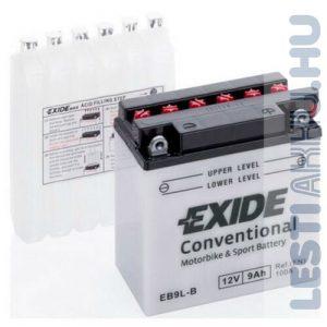 EXIDE Bike Motor Akkumulátor YB9L-B 12V 9Ah 100A Jobb+