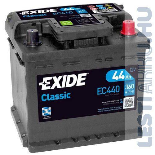 EXIDE Classic Autó Akkumulátor 12V 44Ah 360A Jobb+ (EC440)