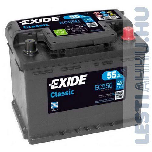 EXIDE Classic Autó Akkumulátor 12V 55Ah 460A Jobb+ (EC550)