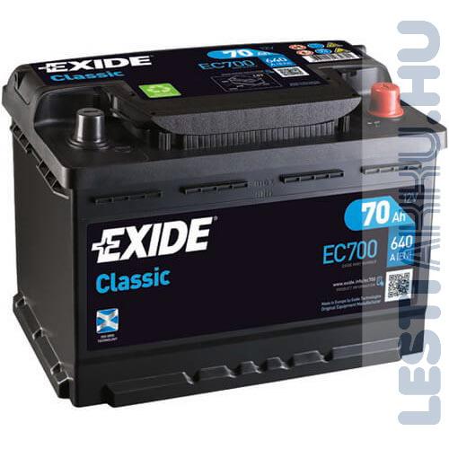 EXIDE Classic Autó Akkumulátor 12V 70Ah 640A Jobb+ (EC700)
