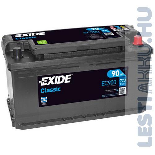 EXIDE Classic Autó Akkumulátor 12V 90Ah 720A Jobb+ (EC900)
