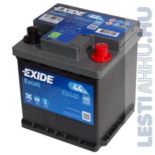 EXIDE Excell Autó Akkumulátor 12V 44Ah 400A Punto Jobb+ (EB440)