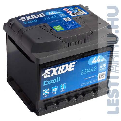 EXIDE Excell Autó Akkumulátor 12V 44Ah 420A Jobb+ (EB442)