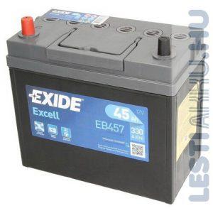 EXIDE Excell Autó Akkumulátor 12V 45Ah 330A Japán Bal+ (EB457)