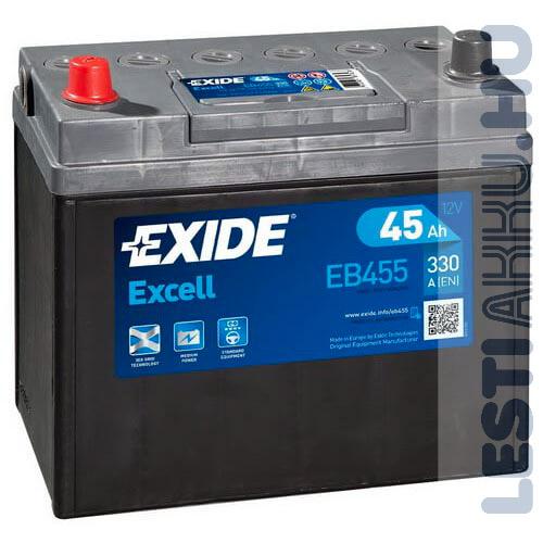 EXIDE Excell Autó Akkumulátor 12V 45Ah 330A Japán Bal+ (EB455)