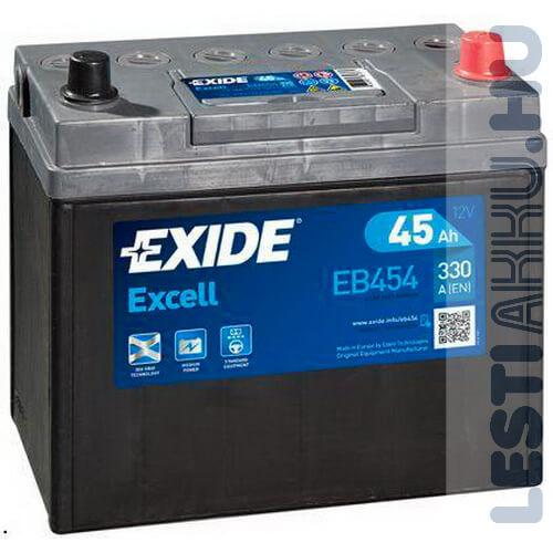 EXIDE Excell Autó Akkumulátor 12V 45Ah 330A Japán Jobb+ (EB454)