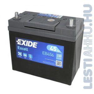 EXIDE Excell Autó Akkumulátor 12V 45Ah 330A Japán Jobb+ (EB456)