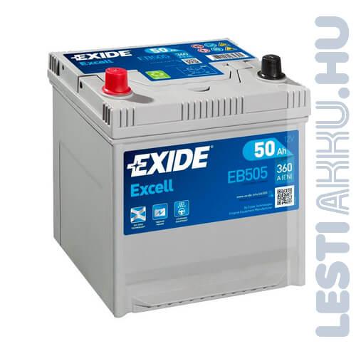 EXIDE Excell Autó Akkumulátor 12V 50Ah 360A Japán Bal+ (EB505)