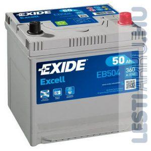 EXIDE Excell Autó Akkumulátor 12V 50Ah 360A Japán Jobb+ (EB504)