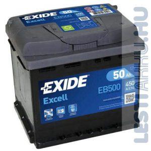 EXIDE Excell Autó Akkumulátor 12V 50Ah 450A Jobb+ (EB500)