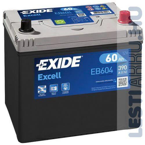 EXIDE Excell Autó Akkumulátor 12V 60Ah 390A Japán Jobb+ (EB604)
