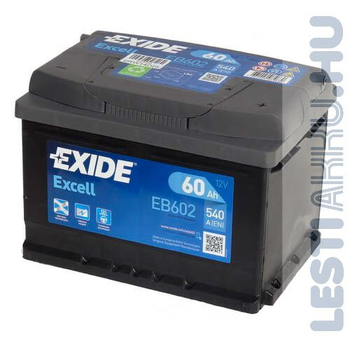 EXIDE Excell Autó Akkumulátor 12V 60Ah 540A Jobb+ (EB602)