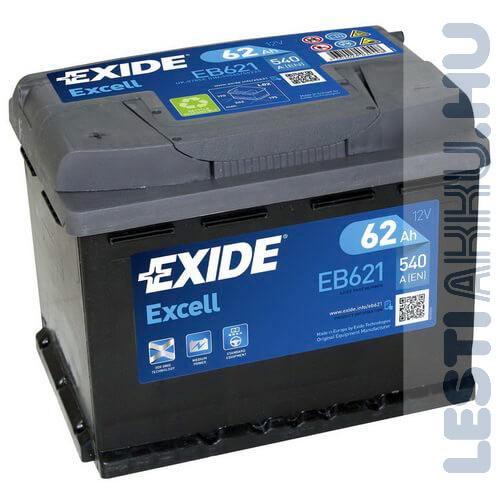 EXIDE Excell Autó Akkumulátor 12V 62Ah 540A Bal+ (EB621)