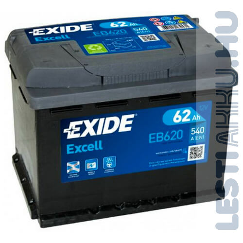 EXIDE Excell Autó Akkumulátor 12V 62Ah 540A Jobb+ (EB620)