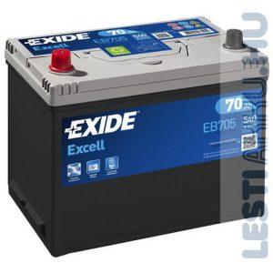 EXIDE Excell Autó Akkumulátor 12V 70Ah 540A Japán Bal+ (EB705)