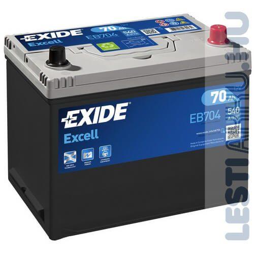 EXIDE Excell Autó Akkumulátor 12V 70Ah 540A Japán Jobb+ (EB704)