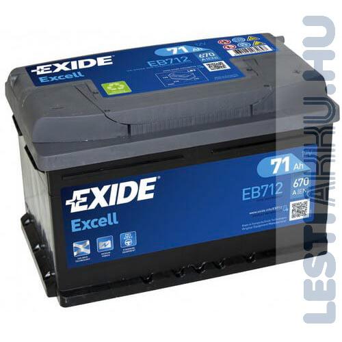 EXIDE Excell Autó Akkumulátor 12V 71Ah 670A Jobb+ (EB712)