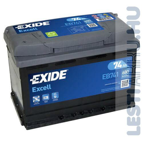 EXIDE Excell Autó Akkumulátor 12V 74Ah 680A Bal+ (EB741)