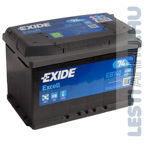 EXIDE Excell Autó Akkumulátor 12V 74Ah 680A Jobb+ (EB740)