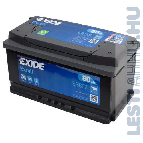 EXIDE Excell Autó Akkumulátor 12V 80Ah 700A Jobb+ (EB802)